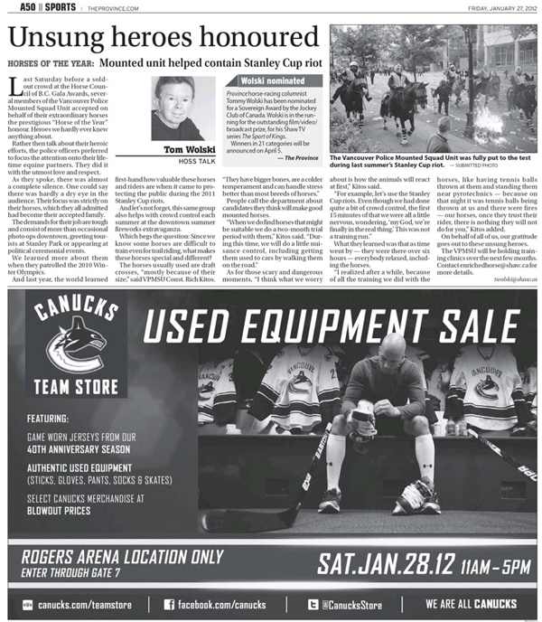 Vancouver Canucks Used Equipment Sale Print