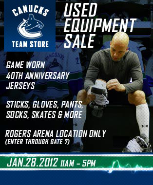 Vancouver Canucks Used Equipment Sale Print Web